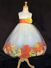 Flower Girl Bridesmaids Easter Colorful Ivory Illusion Dress