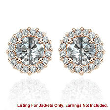 Halo Jackets for 4 Ct Total Weight 8MM G-H Diamond Stud Earrings 14K Rose Gold