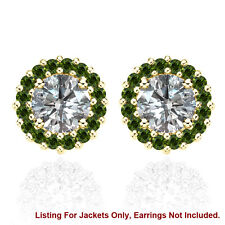 Halo Jackets for 2 Ct Total Weight 6MM Green Diamond Earrings 14K Yellow Gold