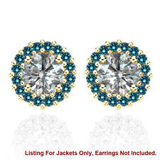 Halo Jackets for 2 Ct Total Weight 6MM Blue Diamond Earrings 14K Yellow Gold