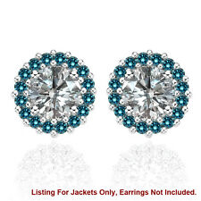 Halo Jackets for 1 Ct Total Weight 5MM Blue Diamond Earrings 14K White Gold
