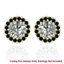 Halo Jackets for 1 Ct Total Weight 5MM Black Diamond Earrings 14K Yellow Gold