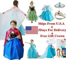 Kids Girls Frozen Elsa Anna Dress Costume Cape Princess Queen Dress Crown 3-8T N