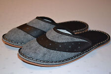 Mens Soft Comfortable Polar Wool Gray Slippers Shoes Sandal Handmade In Poland