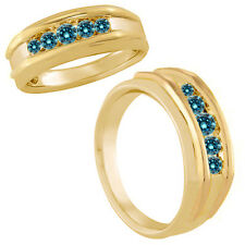 1 Carat Blue Fancy Diamond Designer Channel Mens Promise Ring 14K Yellow Gold