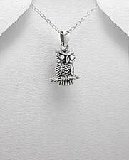Owl On Branch Bird details  Oxidised 925 Sterling Silver Pendant Necklace