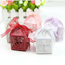 Wholesale Laser Cut Love Heart Favor Candy Gift Boxes With Ribbon Wedding Party