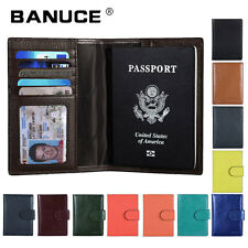 Mens Womens Genuine Leather Passport Holder Covers ID Card Case Travel Wallets