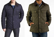 "Men's Barbour ""Tinford"" Diamond Quilted Light Jacket Blue Olive M L Corduroy"