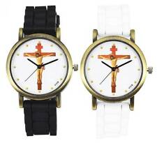 Jesus Cross Christianity Men Women Sport Dress Silicone Black White Quartz Watch