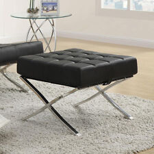 Coaster X Style Chrome Legs Black White Faux Leather Waffle Accent Ottoman Stool