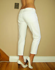 Seven 7 For All Mankind Straight Leg Crop Capri White US Made Stretch Jeans 31
