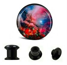 """PAIR COSMIC ACRYLIC """"SPACE-SCAPE"""" EAR STASH PLUGS SCREW FIT 6mm-25mm"""