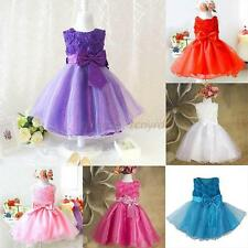 Flower Girl Princess Bow Dress Toddler Wedding Party Pageant Tulle Dresses U72