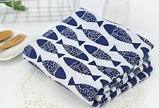 Blue fish 100% Cotton Fabric / All sizes / Quilting fabric off cuts  (ffF243)