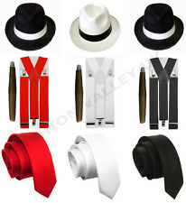 MENS GANGSTER PIMP HAT BRACES TIE CIGAR 1920'S MAFIA ADULT FANCY DRESS COSTUME