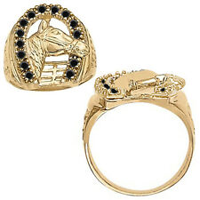 0.75 Carat Black Diamond Mens Horseshoe Horse Head Novelty Ring 14K Yellow Gold