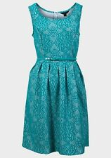 EX CHAINSTORE TURQUOISE/WHITE LACE EFFECT SKATER DRESS - REG/PLUS SIZE 4/6 - 20