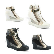 New Womens Ladies High Hi Top Hidden Wedge Lace Up Canvas Trainers Sneakers Size