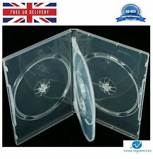4 Way Clear DVD 14mm Spine Holds 4 Discs Empty New Regular Replacement Case