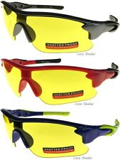 High Definition Vision Driving Sport Sunglasses Yellow Night Lens Wrap Around