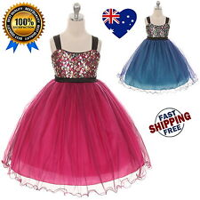 New Sequin Girls Dress Flower Girl Dress, Girls Tulle Party Dress Size 2 to 14