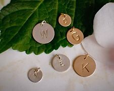 Initial or Symbol Different Sizes Extra Disc Gold or Silver Custom Stamped Charm