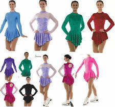 Ice Skating Dress Dance Skate Costume Lycra Velvet Leotard Skirted Majorette yrs
