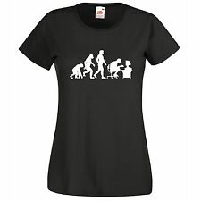 LADIES FUN NOVELTY T SHIRT EVOLUTION OF THE COMPUTER GEEK PC GAMER 8 TO 18