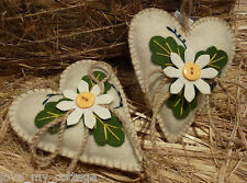Ivory Cream Felt Hanging Heart Country Daisy Easter Tree Dec Wedding Favours