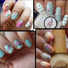 Full Print Floral Flowers Water Transfer Decal UV Acrylic Polish Tips Design