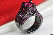 Black Rhodium Hot Pink Sapphire Gothic Bridal Engagement And Wedding Ring Set