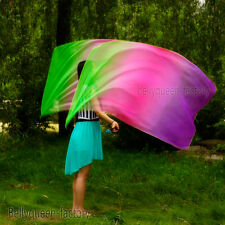 Belly Dance multi Gradient Veil Poi 1 Set (2 Veils+2 Balls )  streamers many clr