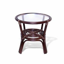 Leo Handmade Rattan Wicker SMALL Round Accent End Coffee Table with Glass Top