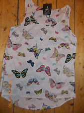 Primark BUTTERFLY BLOUSE TOP Silky Feel Sleeveless Vest  Gorgeous! 6-20 UK