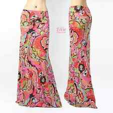 Animal Floral Ornament pink high waist fold over maxi long skirt( S/M/L/X )