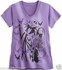 "JACK AND SALLY ""THE NIGHTMARE BEFORE CHRISTMAS"" ~DISNEY STORE~ PURPLE WOMANS TEE"
