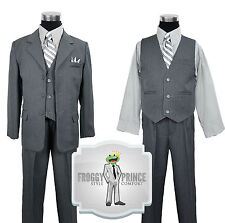 Boys Handsome Gray Pinstripe Suit with Every Piece Kids of All Ages Size 2T - 20