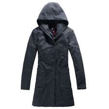 Women's Wool Blend Trench Hooded Coat Long Jacket Padded Thicken Winter Overcoat