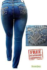 Women's PLUS SIZE HIGH WAIST DARK BLUE Stretch Denim JEANS PANTS SKINNY 3M039MS