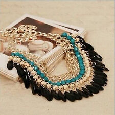 Great HOt Resin Beads Pendant Chain Crystal Choker Chunky Statement Bib Necklace