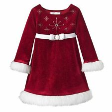 New Bonnie Jean Baby Girl Red Christmas Santa Snowflake Dress Size 2 T