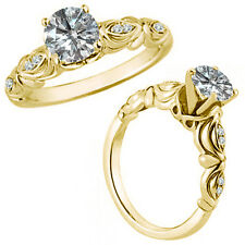 0.50 Carat G-H Diamond Fancy Solitaire Engagement Bridal Ring 14K Yellow Gold