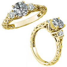 1 Carat G-H Diamond Fancy Solitaire Promise Wedding Ring 14K Yellow Gold