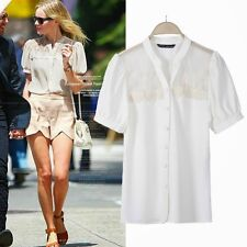 Short Sleeve V Neck Womens Lace Patchwork Blouse Shirt Tops Casual Fashionable