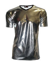 Mens Silver Metallic Wet Look PVC Shiny T-Shirt Top Club Wear V Neck Fancy Dress
