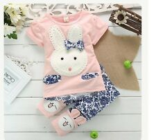 New Baby Girls Toddler Bunny Rabbit Clothing Set Top + Floral Pants 2 Pcs/Outfit