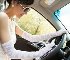 Ladies Long Sexy Lace Stretchy Wedding Party Evening Prom Sunscreen Gloves