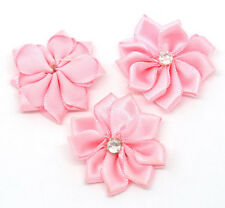 Wholesale Lots Pink Ribbon Rhinestone Flowers Wedding Scrapbooking