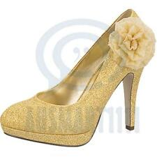 Floral Gold Glitter Womens Wedding Party Shoes Pump Platform Sexy High Heels